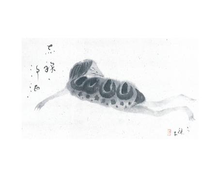 小川芋銭 《渇波童子図》(1936年・個人蔵[山田正平旧蔵])