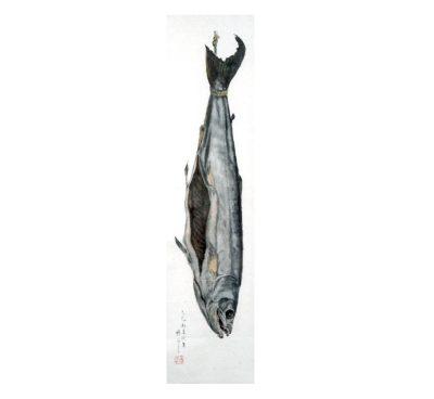 中田瑞穂画 《乾鮭図》 (昭和40年、当記念館蔵)